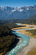 The Whataroa River flows west from the Southern Alps in New Zealand's South Island.