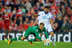 LIVERPOOL, ENGLAND - Wednesday, August 23, 2017: Liverpool's goalkeeper Simon Mignolet and TSG 1899 Hoffenheim's Kerem Demirbay during the UEFA Champions League Play-Off 2nd Leg match between Liverpool and TSG 1899 Hoffenheim at Anfield. (Pic by David Rawcliffe/Propaganda)