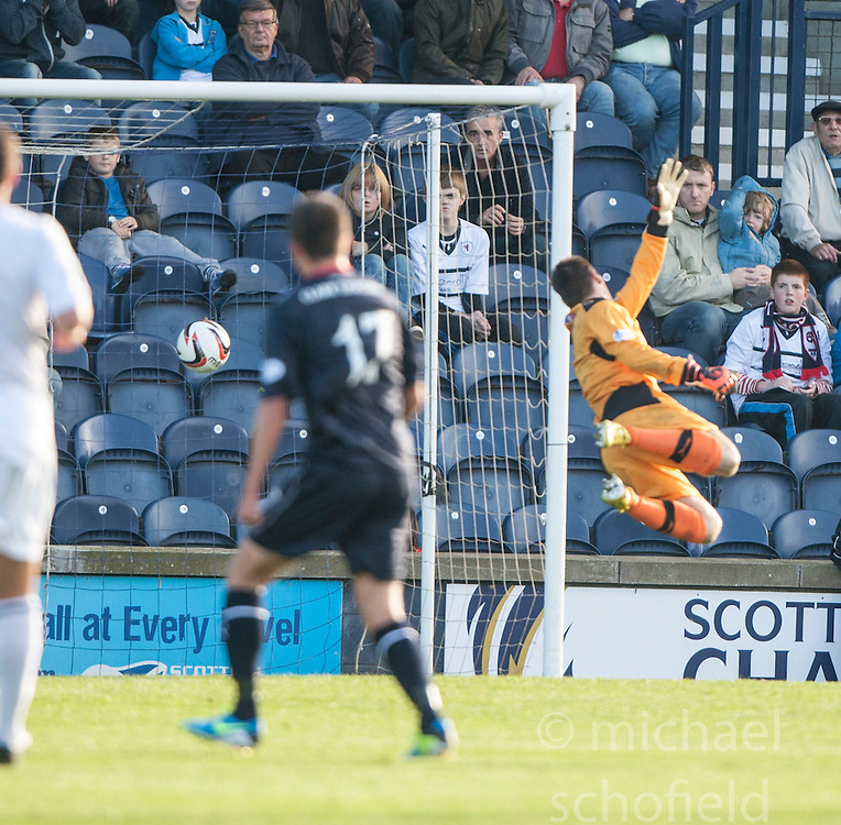 Falkirk's Kris Faulds (17) scoring their goal past Raith Rovers keeper David McGurn.<br /> Raith Rovers 1 v 1 Falkirk, Scottish Championship 28/9/2013.<br /> &copy;Michael Schofield.