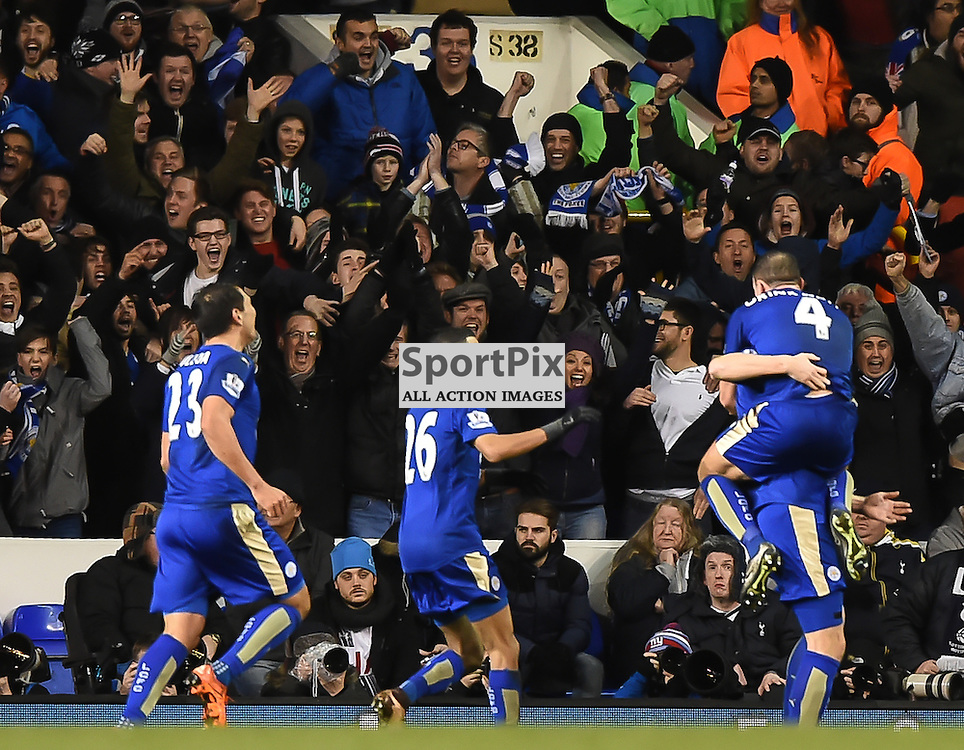 Leicester players celebrate the winning goal in front of their delighted fans (c) Simon Kimber | SportPix.org.uk