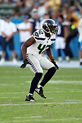 Seattle Seahawks rookie strong safety Delano Hill (42) makes a move during the 2017 NFL week 1 preseason football game against the against the Los Angeles Chargers, Sunday, Aug. 13, 2017 in Carson, Calif. The Seahawks won the game 48-17. (©Paul Anthony Spinelli)
