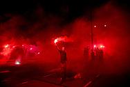 ROTTERDAM - Feyenoord-fans luiden met vuurwerk verjaardag in Feyenoord bestaat donderdag 110 jaar. Supporters zijn daarom woensdagavond naar De Kuip gekomen om precies middernacht de verjaardag van de Rotterdamse club in te luiden.  ROBIN UTRECHT