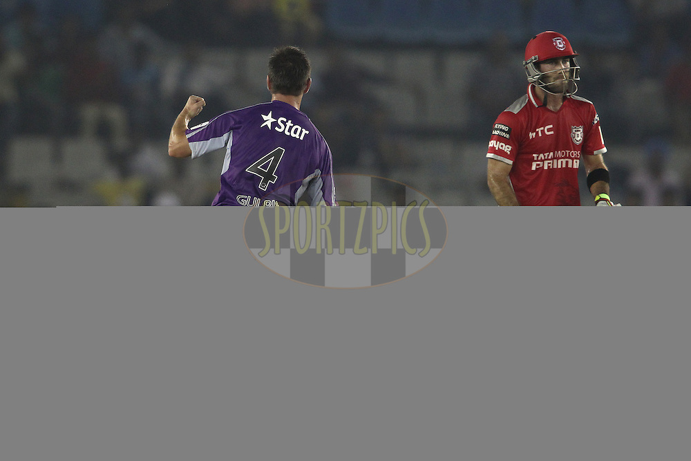 Evan Gulbis of the Hobart Hurricanes celebrates as Glenn Maxwell of the Kings XI Punjab walks back to the dug out during match 2 of the Oppo Champions League Twenty20 between the Kings XI Punjab and the Hobart Hurricanes held at the Punjab Cricket Association Stadium, Mohali, India on the 18th September 2014<br /> <br /> Photo by:  Shaun Roy / Sportzpics/ CLT20<br /> <br /> <br /> Image use is subject to the terms and conditions as laid out by the BCCI/ CLT20.  The terms and conditions can be downloaded here:<br /> <br /> http://sportzpics.photoshelter.com/gallery/CLT20-Image-Terms-and-Conditions-2014/G0000IfNJn535VPU/C0000QhhKadWcjYs