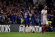 Chelsea FC midfielder Ross Barkley (8) congratulates Chelsea FC forward Alvaro Morata (29) after his goal during the Europa League match between Chelsea and MOL Vidi at Stamford Bridge, London, England on 4 October 2018.