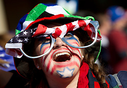 USA fan enjoys the atmosphere ahead of the 2010 FIFA World Cup South Africa Group C match between Slovenia and USA at Ellis Park Stadium on June 18, 2010 in Johannesberg, South Africa. (Photo by Vid Ponikvar / Sportida)