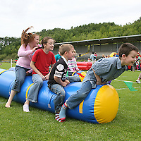 Liam Dawson, Conor Lavin, Magan Dawson and Louise Sheehan taking part in the sausage race at the 2007 Scariff Harbour Festival over the weekend.<br />