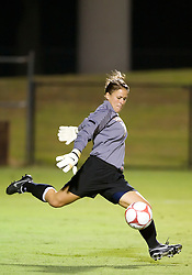 Virginia Cavaliers goalkeeper Celeste Miles (0) in action against Georgetown.  The #6 Virginia Cavaliers played the Georgetown Hoyas to a 2-2 draw in a NCAA Women's Soccer pre-season exhibition game held at Klockner Stadium on the Grounds of the University of Virginia in Charlottesville, VA on August 18, 2008.