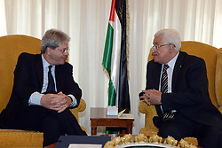 15.05.2015, Rom, ITA, der Palaestinensische Praesident Mahmoud Abbas auf Italien Besuch, im Bild der Pal&auml;stinensische Pr&auml;sident Mahmoud Abbas bei seinem Staatsbesuch in Italien // Palestinian President Mahmoud Abbas meets with Italian Minister of Foreign affairs, Paolo Gentiloni, in Rome Abbas arrived in Rome for three days of meetings with Italian government institutions and the Vatican, Italy on 2015/05/15. EXPA Pictures &copy; 2015, PhotoCredit: EXPA/ APAimages/ Thaer Ganaim<br /> <br /> *****ATTENTION - for AUT, GER, SUI, ITA, POL, CRO, SRB only*****