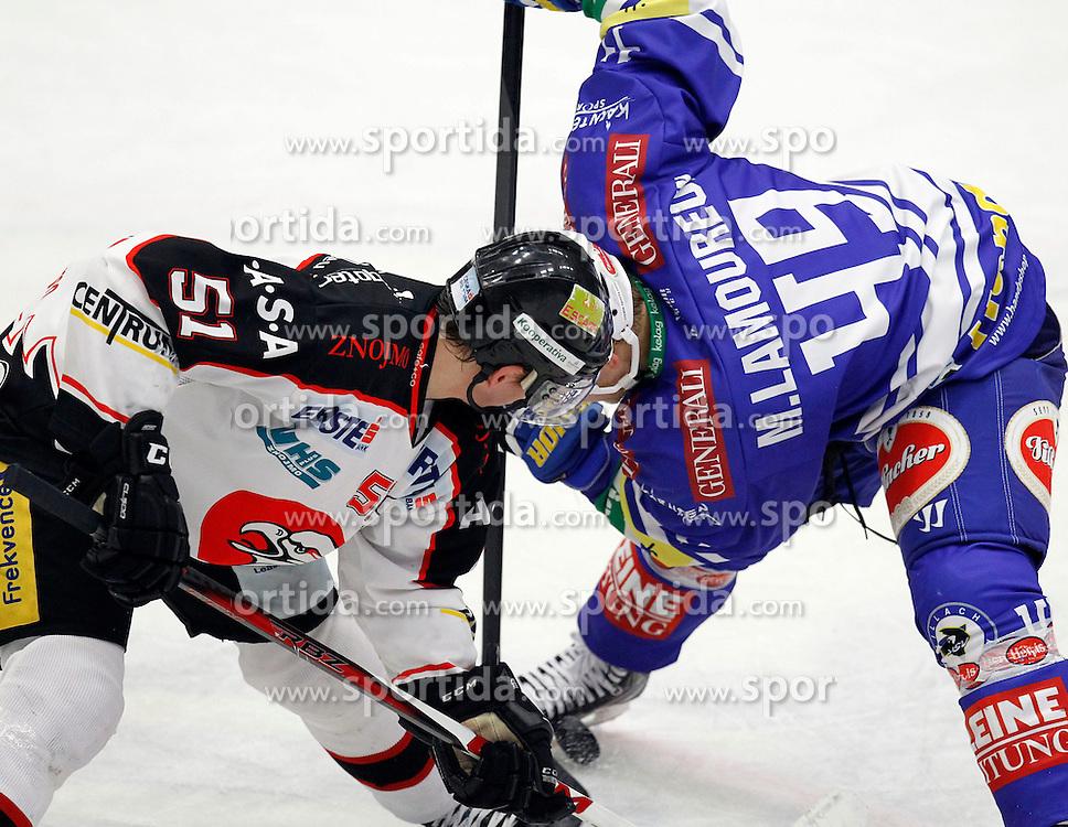 26.02. 2014, Stadthalle, Villach, AUT, EBEL, EC VSV vs HC Orli Znojmo, 8. Plazierungsrunde, im Bild Jan Seda (Znojmo,#51) und Mario Lamoureux (VSV,#49) // during the Erste Bank Icehockey League 8. Placing round between EC VSV vs HC Orli Znojmo at the City Hall, Villach, Austria, 2014/02/26, EXPA Pictures © 2014, PhotoCredit: EXPA/ Oskar Hoeher