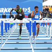 RILEY, ANDREW - DRAKE RELAYS, 2013 - Andrew Riley stole the show at the Drake Relays in the special 110 meter hurdles with his surprise win from lane two.  Among his victims was world record holder Aries Merritt, far left. Dave Peterson Photo