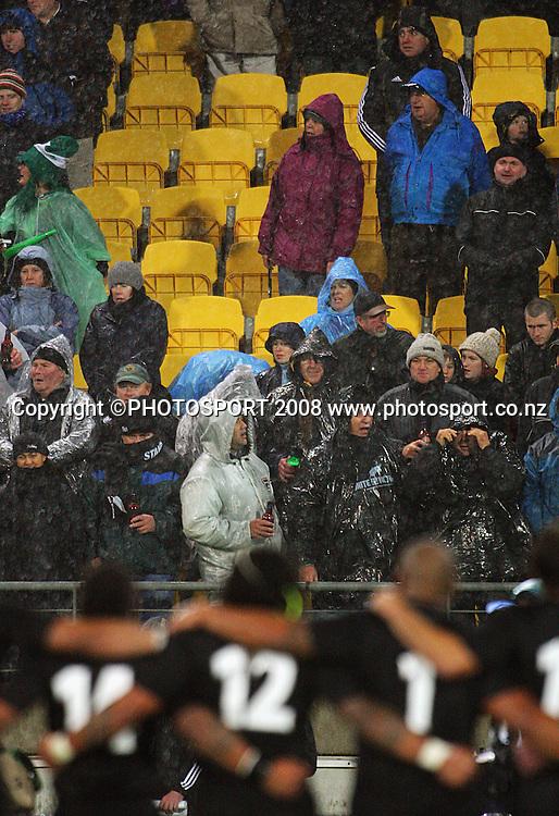 The All Blacks sing the national anthem to a rain-soaked crowd.<br /> International Test Match - All Blacks v Ireland, Westpac Stadium, Wellington. Saturday 7 June 2008. Photo: Dave Lintott/PHOTOSPORT