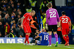 Martin Skrtel of Liverpool argues with Diego Costa of Chelsea after a rough challenge from the latter - Photo mandatory by-line: Rogan Thomson/JMP - 07966 386802 - 27/01/2015 - SPORT - FOOTBALL - London, England - Stamford Bridge - Chelsea v Liverpool - Capital One Cup Semi-Final Second Leg.