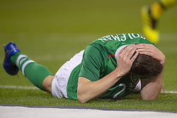 November 15, 2018 - Dublin, Ireland - Seamus Coleman of Ireland lying on the pitch with a bleeding head during the International Friendly match between Republic of Ireland and Northern Ireland at Aviva Stadium in Dublin, Ireland on November 15, 2018  (Credit Image: © Andrew Surma/NurPhoto via ZUMA Press)