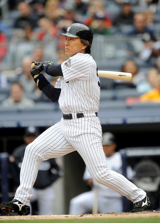 NEW YORK - MAY 17: Hideki Matsui #55 of the New York Yankees at bat against the Minnesota Twins on May 17, 2009 at Yankee Stadium in the Bronx borough of New York City.(Photo by Rob Tringali) *** Local Caption *** Hideki Matsui