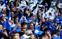 Reading fans wave flags ahead of The Championship Playoff Semi-Final against Fulham - Mandatory by-line: Robbie Stephenson/JMP - 16/05/2017 - FOOTBALL - Madejski Stadium - Reading, England - Reading v Fulham - Sky Bet Championship Play-off Semi-Final 2nd Leg