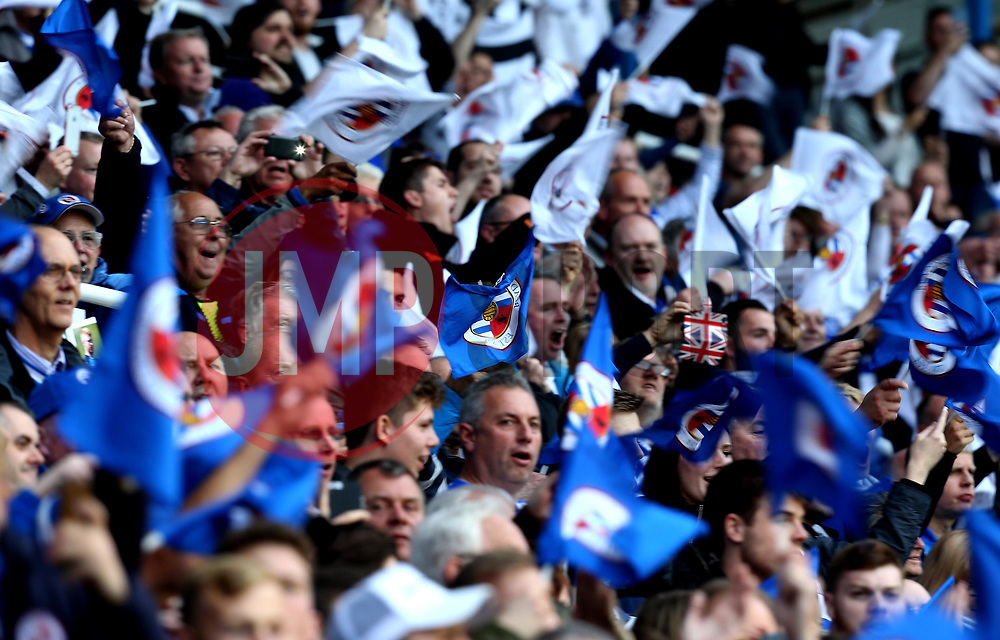 Reading fans wave flags ahead of The Championship Playoff Semi-Final against Fulham - Mandatory by-line: Robbie Stephenson/JMP - 16/05/2017 - FOOTBALL - Madejski Stadium - Reading, England - Reading v Fulham - Sky Bet Championship Play-off Semi-Final 2nd Leg
