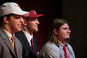 Flower Mound Marcus High School senior tight end Kaden Smith poses for a photo with teammates after signing his National Letter of Intent to play football at Stanford University during his high school signing day on February 3, 2016. (Cooper Neill for The New York Times)