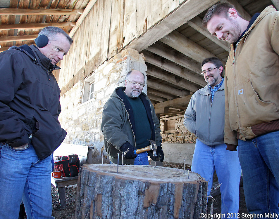 Charlie Wooten (second on left) of Norwalk, aims for his nail as he competes in Hammerschlagen while Bill May (from left), of Des Moines, volunteer Bruce Trumphold, of the Amana Furniture and Clock Shop, and Sean Giese, of Tulsa, Oklahoma, look on during Winterfest at the Market Barn in Amana on Saturday, January 28, 2012. Activities included the Best Beard Competition, winter wreath toss, the Great Amana Ham-Put, hammerschlagen, and a log sawing competition. (Stephen Mally/Freelance)