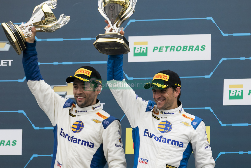 March 10, 2018 - Sao Paulo, Sao Paulo, Brazil - Mar, 2018 - This Saturday (10) at the Autodromo de Interlagos in the city of São Paulo, the Stock Car doubles stage, opening the 2018 season of the competition. In the photo DANIEL SERRA and JOÃO PAULO OLIVEIRA of the team EUROFARMA-RC, winners of the race. (Credit Image: © Marcelo Chello via ZUMA Wire)