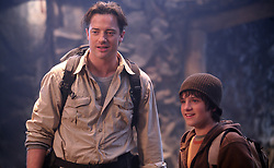 RELEASE DATE: July 11, 2008. MOVIE TITLE: Journey to the Center of the Earth 3D. STUDIO: New Line Cinema. PLOT: On a quest to find out what happened to his missing brother, a scientist, his nephew and their mountain guide discover a fantastic and dangerous lost world in the center of the earth. PICTURED: BRENDAN FRASER as Trevor Anderson and JOSH HUTCHERSON as Sean Anderson. (Credit Image: © New Line Cinema/Entertainment Pictures/ZUMAPRESS.com)