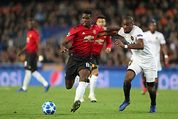 December 12, 2018 - Valencia, Spain - December 12, 2018 - Valencia, Spain - .Paul Pogba of Manchester United and Geoffrey Kondogbia of Valencia during the UEFA Champions League, Group H football match between Valencia CF and Manchester United on December 12, 2018 at Mestalla stadium in Valencia, Spain (Credit Image: © Manuel Blondeau via ZUMA Wire)