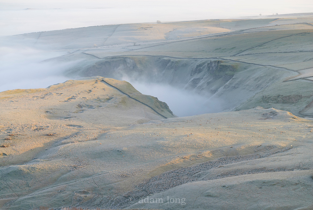 Winter mist fills Winnat's Pass, Peak District