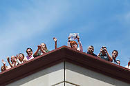 MAY 14, 2010: Fan line up on the rooftop of a parking structure as American Idol contestant Crystal Bowersox performs in Levis Square for her hometown celebration in Toledo, Ohio.