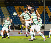 Dundee's Calvin Colquhoun heads for goal -  Celtic v Dundee,  SPFL Development League at Cappielow<br /> <br />  - © David Young - www.davidyoungphoto.co.uk - email: davidyoungphoto@gmail.com