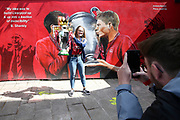 What a photo opportunity as fans celebrate outside the stadium and through the city before and during the Premier League match between Liverpool and Aston Villa at Anfield, Liverpool, England on 5 July 2020.