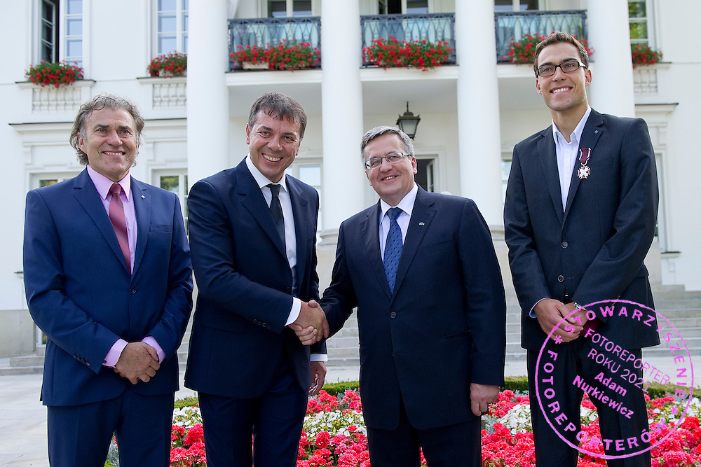 (L-R) Jerzy Janowicz Senior and Krzysztof Suski - President of Polish Tennis Association and Bronislaw Komorowski - President of Poland and Jerzy Janowicz during meeting in Belvedere Palace in Warsaw, Poland.<br /> <br /> Poland, Warsaw, July 08, 2013<br /> <br /> Picture also available in RAW (NEF) or TIFF format on special request.<br /> <br /> For editorial use only. Any commercial or promotional use requires permission.<br /> <br /> Photo by &copy; Adam Nurkiewicz / Mediasport