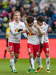 05.03.2016, Red Bull Arena, Salzburg, AUT, 1. FBL, FC Red Bull Salzburg vs SV Groedig, 26. Runde, im Bild Torjubel Red Bulls nach dem 2:0 durch Takumi Minamino (Red Bull Salzburg, mitte), Andreas Ulmer (Red Bull Salzburg), Stefan Lainer (Red Bull Salzburg) // during Austrian Football Bundesliga 26th round Match between FC Red Bull Salzburg and SV Groedig at the Red Bull Arena, Salzburg, Austria on 2016/03/05. EXPA Pictures © 2016, PhotoCredit: EXPA/ JFK