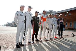 Motorsports / Formula 1: World Championship 2010, GP of Korea, 04 Nico Rosberg (GER, Mercedes GP Petronas), 10 Nico Huelkenberg (GER, AT&T Williams),  24 Timo Glock (GER, Virgin Racing),   14 Adrian Sutil (GER, Force India F1 Team), Nick Heidfeld (GER, BMW Sauber F1 Team), 03 Michael Schumacher (GER, Mercedes GP Petronas),   05 Sebastian Vettel (GER, Red Bull Racing),