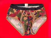 Still life of a pair of camouflage underwear.