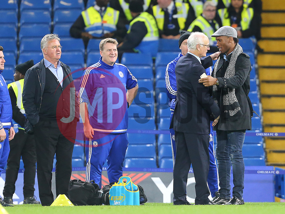 Bruce Buck ( 2nd R ) and Didier Drogba shake hands after the match - Mandatory byline: Paul Terry/JMP - 07966 386802 - 19/12/2015 - FOOTBALL - Stamford Bridge - London, England - Chelsea v Sunderland - Barclays Premier League