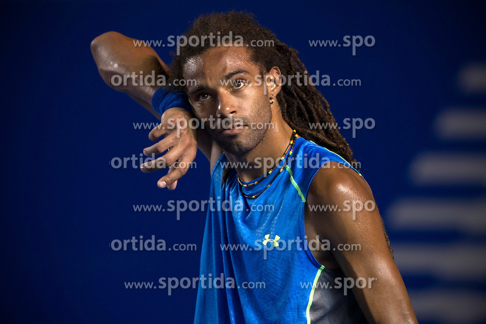 Germany's Dustin Brown gestures during the men's singles match against South Africa's Kevin Anderson at the Abierto Mexicano Telcel tennis tournament in Acapulco, Guerrero state, Mexico, on Feb. 23, 2015. Dustin Brown lost the match 0-2 (da). EXPA Pictures &copy; 2015, PhotoCredit: EXPA/ Photoshot/ [e]Alejandro Ayala<br /> <br /> *****ATTENTION - for AUT, SLO, CRO, SRB, BIH, MAZ only*****