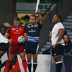 LONDON, ENGLAND - SEPTEMBER 18: Tom Youngs         of England and Stuart Berry (SARU) (Assistant referee) during the Rugby World Cup 2015 Pool A match between England and Fiji at Twickenham Stadium on September 18, 2015 in London, England.  (Photo by Steve Haag Emirates)