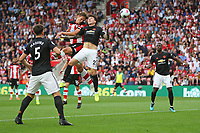 Football - 2019 / 2020 Premier League - Southampton vs. Manchester United<br /> <br /> Southampton's Jannik Vestergaard climbs highest to head home Southamptons equaliser at St Mary's Stadium Southampton<br /> <br /> COLORSPORT/SHAUN BOGGUST