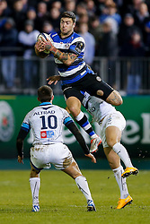 Bath Winger Matt Banahan takes a high ball as Montpellier Fly-Half Enzo Selponi and Full Back Pierre Berard challenge - Photo mandatory by-line: Rogan Thomson/JMP - 07966 386802 - 12/12/2014 - SPORT - RUGBY UNION - Bath, England - The Recreation Ground - Bath Rugby v Montpellier Herault Rugby - European Rugby Champions Cup Pool 4.