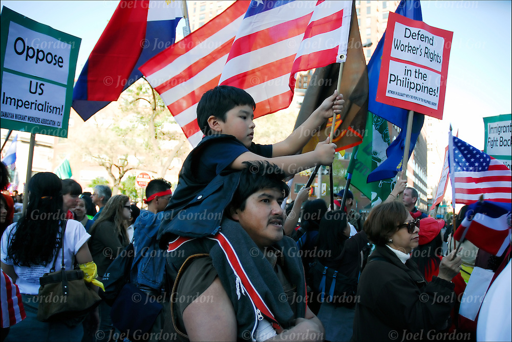 """WE ARE AMERICA"", Immigrant Right Rally as part of National Day of Action for Immigrant Rights, millions calling for just and humane immigration reform and protesting anti-immigrant bills pending in Congress. April 10, 2006. 11 million undocumented immigrants in the United States."