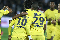 September 8, 2017 - Paris, France - Paris Saint-Germain's French forward Kylian Mbappe (R) and Paris Saint-Germain's Brazilian forward Neymar (L) celebrates following a goal during the French L1 football match between Metz (FCM) and Paris Saint-Germain (PSG) on September 8, 2017 at the Saint-Symphorien stadium in Longeville-les-Metz, northeastern France. (Credit Image: © Elyxandro Cegarra/NurPhoto via ZUMA Press)