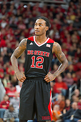 North Carolina State guard Anthony Barber. <br /> <br /> The University of Louisville hosted the North Carolina State, Saturday, Feb. 14, 2015 at the Yum Center in Louisville. <br /> <br /> Photo by Jonathan Palmer