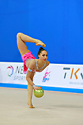 Pazhava Salome during qualifying at ball in Pesaro World Cup at Adriatic Arena on 10 April 2015. Salome was born on September 3 1997 in Tbilisi. She is a Georgian individual rhythmic gymnast.