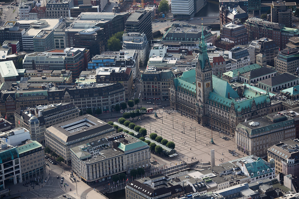The Hamburg Rathaus is the Rathaus—the city hall or town hall—of Hamburg, Germany. It is the seat of the government of Hamburg, located in the Altstadt quarter in the city centre, near the lake Binnenalster and the central station in Hamburg, Germany 2012.