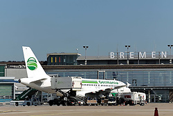 22.08.2011, Flughafen, Bremen, GER, Feature Flughafen Bremen, im Bild Airbus der Fluggesellschaft Germania vor dem Terminal..// on 2011/08/22, Airport, Bremen, Germany..EXPA Pictures © 2011, PhotoCredit: EXPA/ nph/  Frisch       ****** out of GER / CRO  / BEL ******