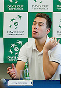 Jerzy Janowicz of Poland while press conference after his lost game during the BNP Paribas Davis Cup 2014 between Poland and Croatia at Torwar Hall in Warsaw on April 6, 2014.<br /> <br /> Poland, Warsaw, April 6, 2014<br /> <br /> Picture also available in RAW (NEF) or TIFF format on special request.<br /> <br /> For editorial use only. Any commercial or promotional use requires permission.<br /> <br /> Mandatory credit:<br /> Photo by &copy; Adam Nurkiewicz / Mediasport