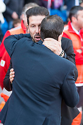 02.04.2016, Estadio San Mames, Bilbao, ESP, Primera Division, Athletic Club vs Real Betis, 31. Runde, im Bild Atletico de Madrid's coach Diego P. Simeone and Real Betis's coach Juan Merino // during the Spanish Primera Division 31th round match between Athletic Club and Real Betis at the Estadio San Mames in Bilbao, Spain on 2016/04/02. EXPA Pictures © 2016, PhotoCredit: EXPA/ Alterphotos/ Borja B.Hojas<br /> <br /> *****ATTENTION - OUT of ESP, SUI*****