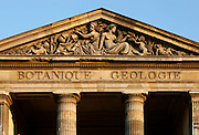 View from below of the pediment of the Galerie de Mineralogie, de Geologie et de Paleobotanique (Gallery of Minerology, Geology and Paleobotany), built from 1833 to 1841 by Charles Rohault de Fleury and located in the Jardin des Plantes, Paris, 5th arrondissement, France. Founded in 1626 by Guy de La Brosse, Louis XIII's physician, the Jardin des Plantes, originally known as the Jardin du Roi, opened to the public in 1640. It became the Museum National d'Histoire Naturelle in 1793 during the French Revolution. Picture by Manuel Cohen