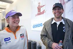 Tina Maze and coach Andrej Perovsek of Slovenian Alpine Ski Team before new season 2008/2009, on Septembra 25, 2008, Ljubljana, Slovenia. (Photo by Vid Ponikvar / Sportal Images)