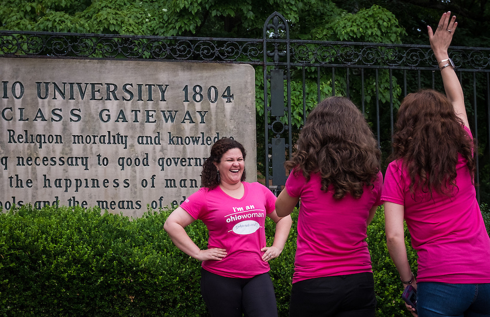 A participant poses for an individual photo following the first ever OU Women Portrait on Tuesday, June 23, 2015.  Over 300 women participated in the photo. Photo by Ohio University  /  Rob Hardin