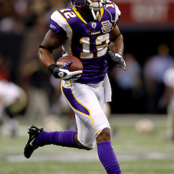 September 9, 2010; New Orleans, LA, USA; Minnesota Vikings wide receiver Percy Harvin (12) during warm ups prior to kickoff of the NFL Kickoff season opener at the Louisiana Superdome. The New Orleans Saints defeated the Minnesota Vikings 14-9.  Mandatory Credit: Derick E. Hingle